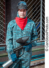 Man - paintball player