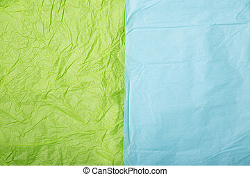 Lime green and baby blue wrinkled paper textures