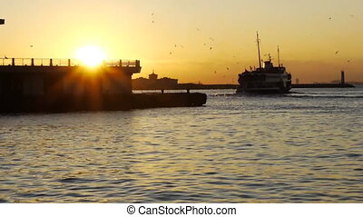 Docking ship. - Ship goes to dock on a lovely seascape and...