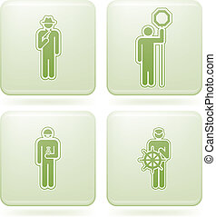 Olivine Square 2D Icons Set: Sport - Sports figures Green...