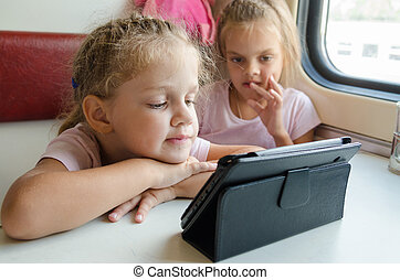 Two girls on a train with interest looking cartoon Tablet PC...