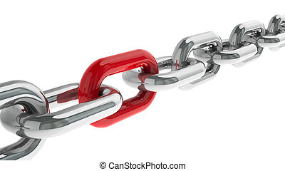 Chain with red link - concept particular person,...