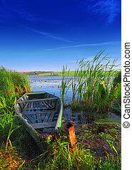 ocaso, viejo, lago, barco