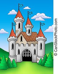 Old medieval castle in landscape - color illustration