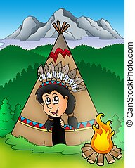 Native American Indian in tepee - color illustration.