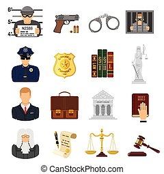 Crime and Punishment Flat Icons - Set Crime and Punishment...