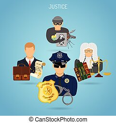 Fairness and Justice Concept - Justice Concept with Flat...