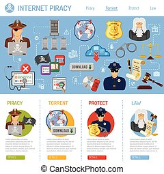 Internet Piracy Concept - Piracy Concept with Flat Icons for...