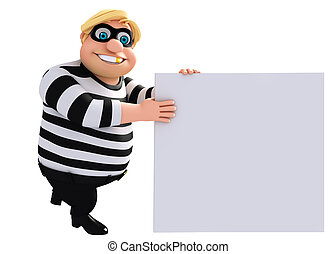 3D Rendered illustration of fate Thief with white board - 3D...