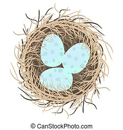 Easter eggs in nest vector illustration on white. - Blue...