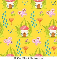 Spring forest mushroom house seamless pattern Cartoon...