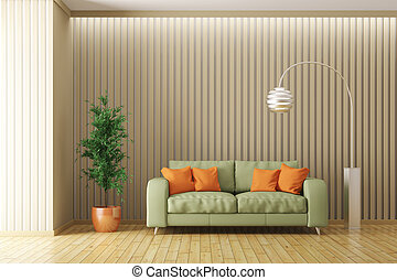 Modern interior of living room with sofa 3d render