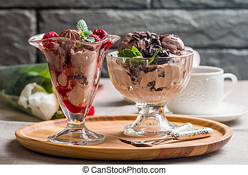 chocolate ice cream - Two cups of chocolate ice cream with...