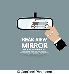 Car Reflection In Rear View Mirror.