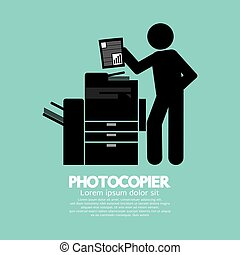 Symbol Of A Man Using A Photocopier - Graphic Symbol Of A...