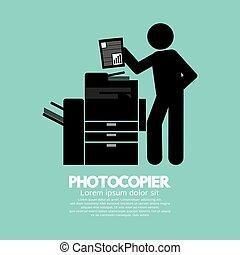 símbolo, de, Un, hombre, Utilizar, Un, fotocopiadora,...