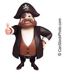 3D Rendered illustration of pirate with thumbs up pose