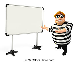 3D Rendered illustration of fate Thief with white board