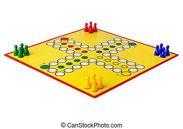 Ludo, Boardgame, arreglado, en, Un, blanco, Plano de fondo,