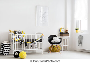 Scandinavian inspiration for a baby room - Shot of a stylish...
