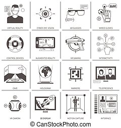 Black And White VR Icons - Black and white flat icons set of...