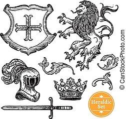 Heraldic Symbols Set Black Doodle Sketch - Coat of arms...