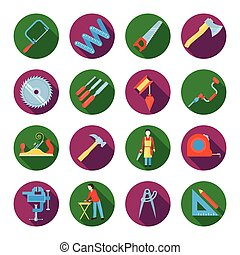Carpentry Icons Set - Construction working tools icons or...