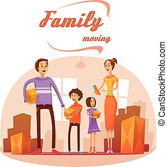 Family Moving In Cartoon Illustration - Family moving in...