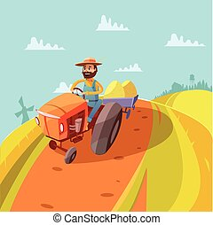 Farmer Cartoon Background - Farmer cartoon background with...