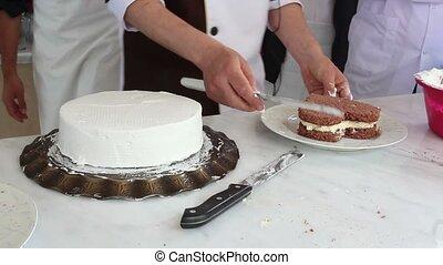 bake - Dough beating with electric mixer close up