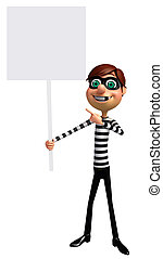 3D Rendered illustration of Thief with white board
