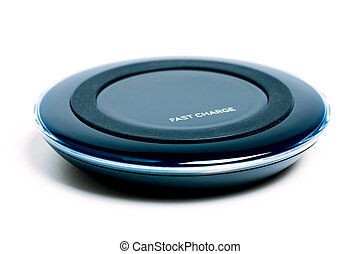 Wireless fast charger blue black color on isolated white...