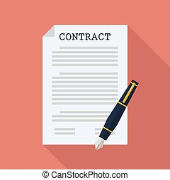 Contract document paper with pen
