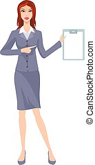 clerk - business woman in a business suit