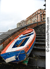 boat moored on the stairs - VIew of a boat on a stairs in...