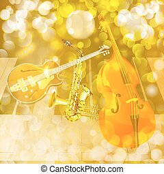 jazz instruments on shiny background