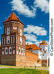 Mir castle tower in Belarus - Mir Castle - fortification and...