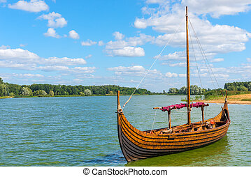 horizontal Photo Viking boat on the water
