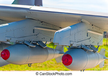 two bombs on military aviation bomber closeup