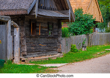 dilapidated wooden house in the village