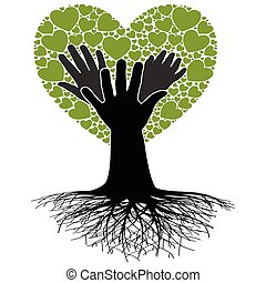 Family Tree-Hand - Illustration of a tree, the heart and...