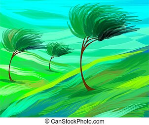 breeze - Digital painting of trees in grassland suffering...