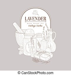 Vintage Sketch With Lavender Products Set - Vintage Vector...