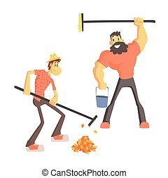 Two Man Picking Up Leaves Cute Cartoon Style Flat Vector...