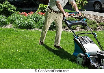 Pushing lawn mower - Man is pushing lawn mower to mown grass