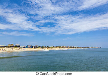 beautiful beach at nags Head in the Outer Banks under blue...