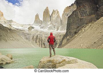 hombre, posición, cerca, lago, en, Patagonia, torres, del,...