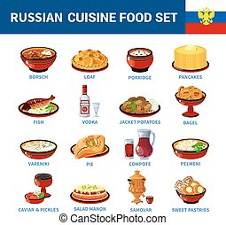 Russian Cuisine Dishes Flat icons Collection - Russian...