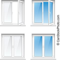 Plastic Window Frames 4 Realistic Icons Set - Energy cost...