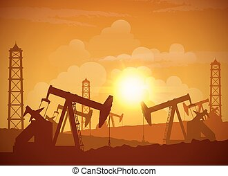 OilField Poster - Silhouette of an oilfield derrick...